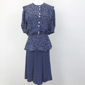 Vintage Laura and Jayne Skirt Set Blue 70s sz 8/10